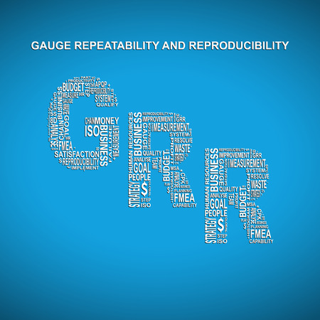 repeatability: Gauge repeatability and reproducibility diagonal typography background. Blue background with main title GRR filled by other words related with gauge repeatability and reproducibility method Illustration