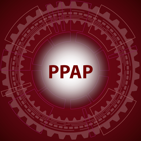 Production part approval process strategy background. Red background with gear and title PPPAP in middle.