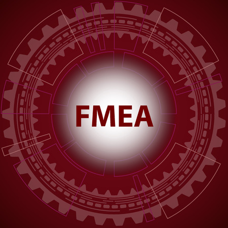 Failure mode and effect analysis strategy background. Red background with gear and title FMEA in middle. Illustration