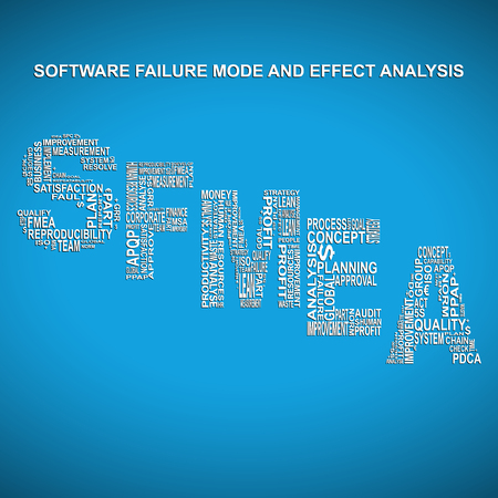 product design specification: Software failure mode and effect analysis diagonal typography background. Blue background with main title SFMEA filled by other words related with software failure mode and effect analysis method Illustration