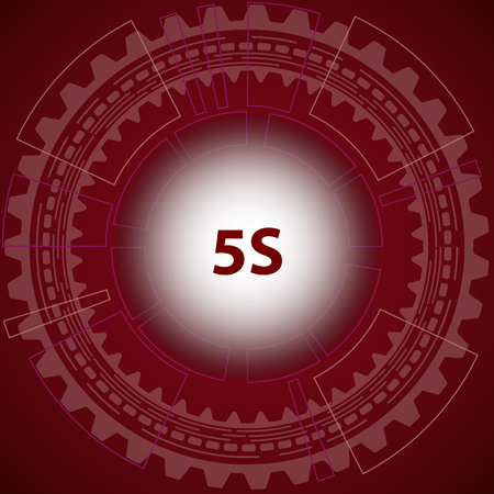 5s: Five S strategy background. Red background with gear and title 5S in middle.