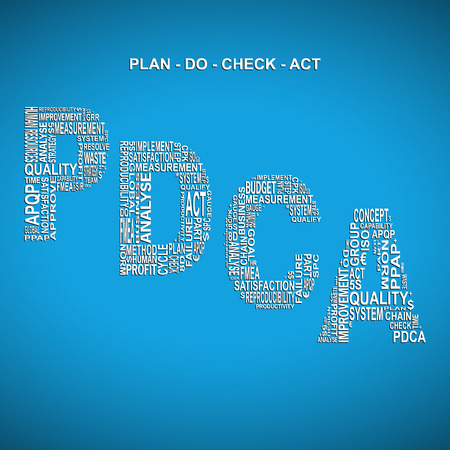 Plan do check act diagonal typography background. Blue background with main title PDCA filled by other words related with plan do check act method
