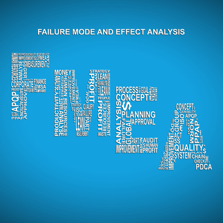 product design specification: Failure mode and effect analysis diagonal typography background. Blue background with main title FMEA filled by other words related with failure mode and effect analysis method Illustration