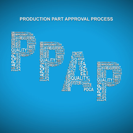 main part: Production part approval process diagonal typography background. Blue background with main title PPAP filled by other words related with production part approval process method Illustration