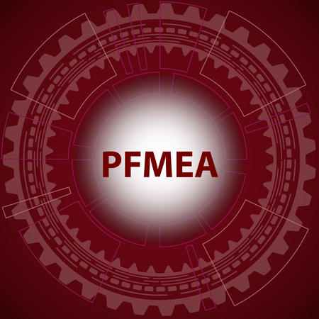 Process failure mode and effect analysis strategy background. Red background with gear and title PFMEA in middle.