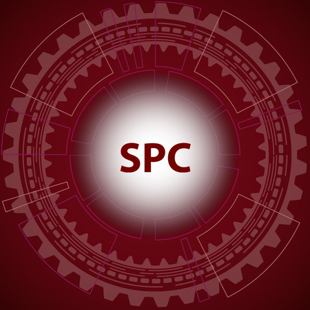 repeatability: Statistical process control method background. Red background with gear and title SPC in middle.