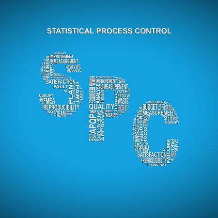 linearity: Statistical process control diagonal typography background. Blue background with main title SPC filled by other words related with statistical Illustration