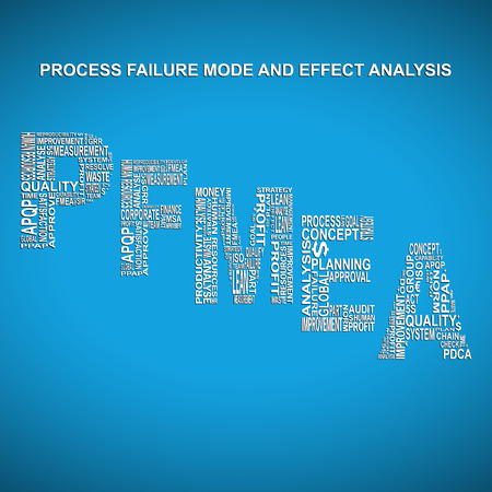product design specification: Process failure mode and effect analysis diagonal typography background. Blue background with main title PFMEA filled by other words related with process failure mode and effect analysis method