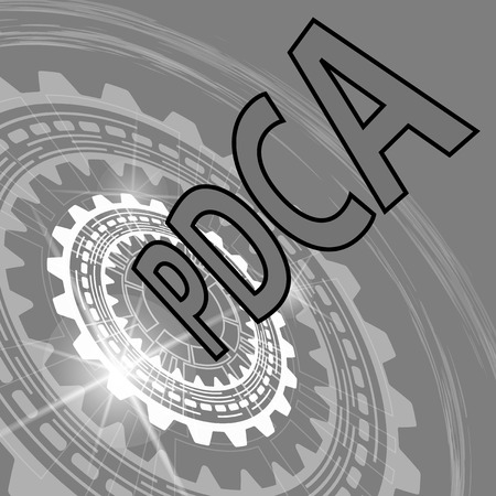 plan do check act: Plan do check act strategy background. Grey scale industrial background with gear and title PDCA