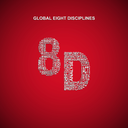 determine: Global eight disciplines typography background. Dark background with main title 8D filled by other words related with global eight disciplines method