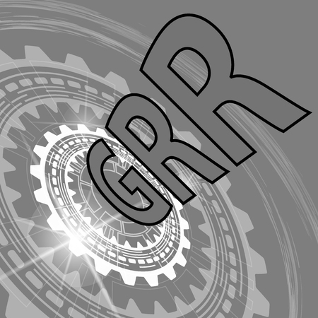 Gauge repeatability and reproducibility study background. Grey scale industrial background with gear and title GRR Illustration