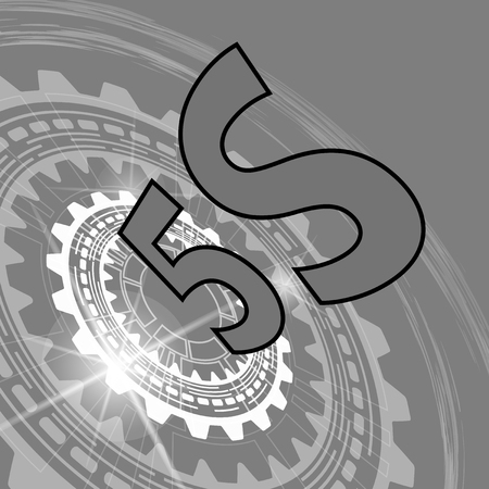 Five S strategy background. Grey scale industrial background with gear and title 5S