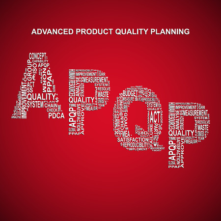 product quality: Advanced product quality planning diagonal typography background. Red background with main title APQP filled by other words related with advanced product quality planning method