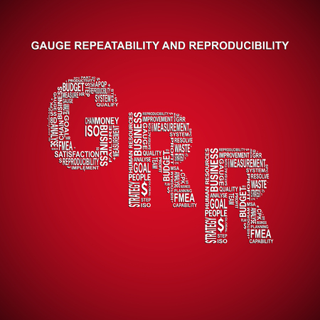 linearity: Gauge repeatability and reproducibility diagonal typography background. Red background with main title GRR filled by other words related with gauge repeatability and reproducibility method