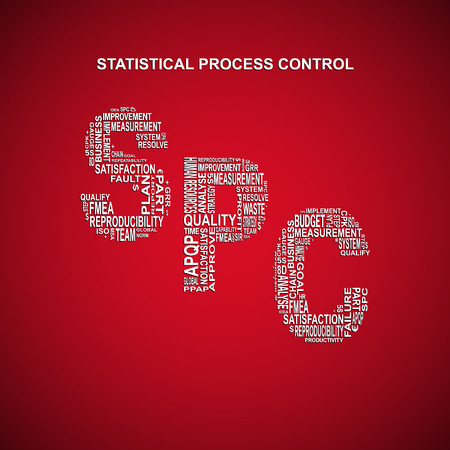 repeatability: Statistical process control diagonal typography background. Red background with main title SPC filled by other words related with statistical Illustration