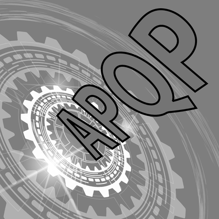 product quality: Advanced product quality planning strategy background. Grey scale industrial background with gear and title APQP Illustration