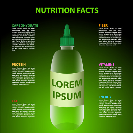 savoury: Vector illustration of bottle with green background and place for description about nutrition facts Illustration