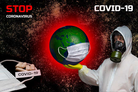 COVID-19 virus strain taken over world. Banner concept stop coronavirus. Medications tablets for prevention and treatment of coronavirus COVID-19. Medic in gas mask holds planet earth in medical mask
