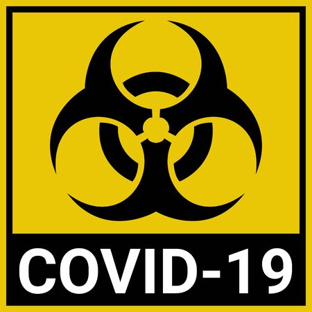 The biohazard sign warns of the COVID-19 coronavirus. Designation of quarantine zones for patients infected with COVID-19. Coronavirus biohazard symbol