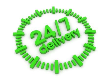 command button: 24h7 delivery 3d render illustration