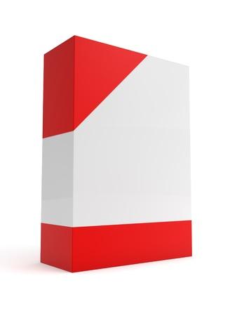 Boîte logiciel avec coin rouge et en bas