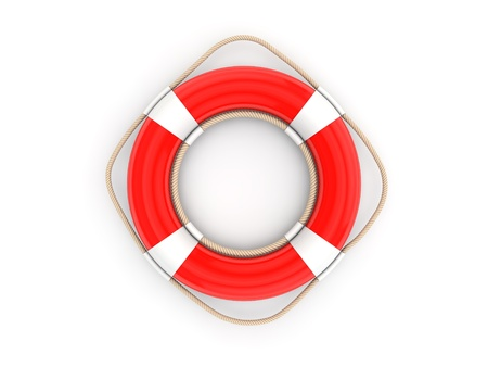 beach buoy: Red lifebelt 3d render illustration