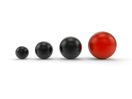 power point: Individuality balls 3d render illustration Stock Photo