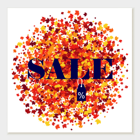 Autumn colors vector sale banner of scattered maple leaves. 일러스트