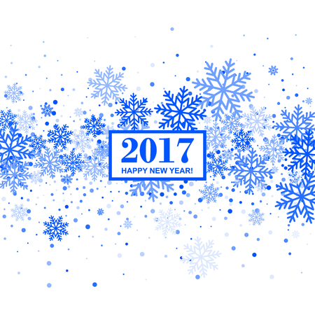 blizzards: Background with Blue Scatter Snowflakes for Christmas and New Year 2017 Design. Vector Illustration. Illustration