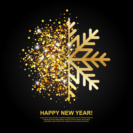 sequin: Happy New Year Greeting Card with Golden Glowing Snowflake on black background. Vector Illustration.