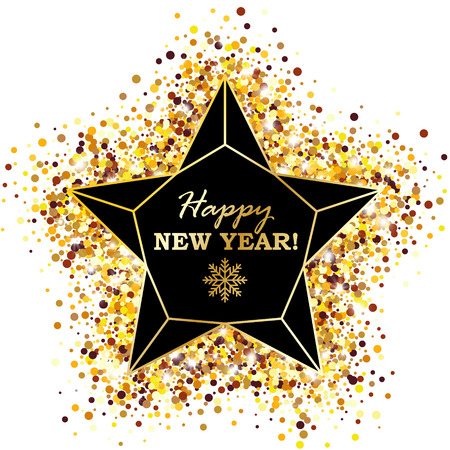 Happy New Year Poster with Geometric Lattice Star on Golden Glowing Background. Vector Illustration.