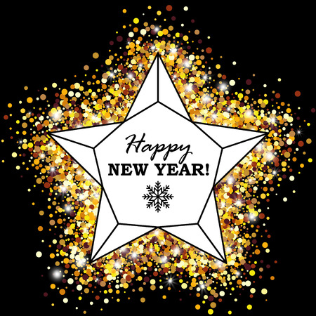 Happy New Year Greeting Card with Geometric Lattice Star on Golden Glowing Background. Vector Illustration. Ilustração