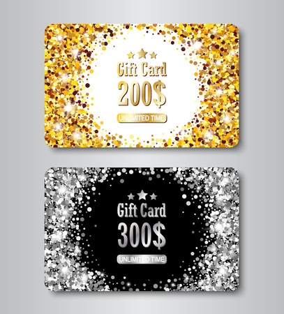 Gift card gold and silver layout template with glowing sequins texture. Glittering premium certificate for shopping.