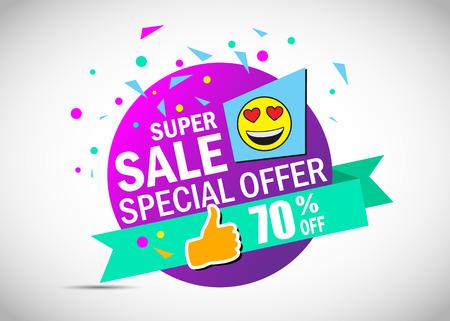 Super sale special offer banner. Colorful sale poster. 70% off. Illustration