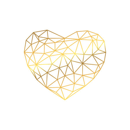 Polygonal golden heart on white background. Isolated vector Illustration. Love symbol in low poly style