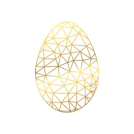 Gold Easter Crumpled Egg on white background. Vector polygonal pattern. Easter design.