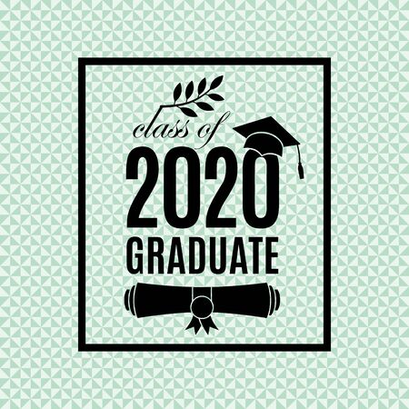 Class of 2020 graduate poster with hat, paper roll, laurel on emerald seamless triangle background for invitation, banner, greeting card, postcard. Vector graduate template. All isolated and layered