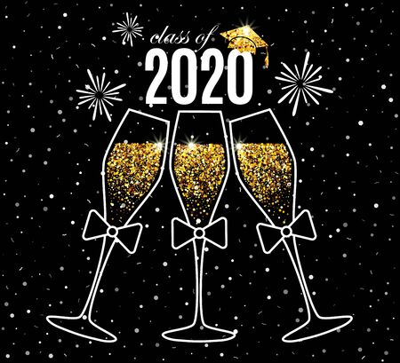 Graduation greeting card 2020 class of with three glasses of champagne, hat and fireworks for invitation, banner, poster, postcard. Vector graduates template. All isolated and layered