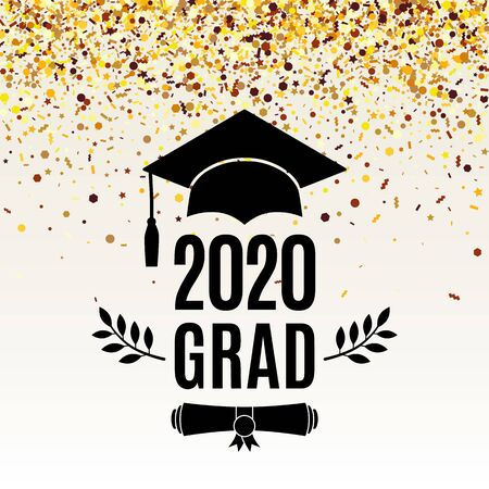 Grad 2020 class of greeting card with scroll, hat, laurel on beige background with falling golden confetti for invitation, banner, poster, postcard. Vector illustration. All isolated and layered Иллюстрация