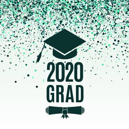 Grad 2020 class of greeting card with scroll, hat on greenery background with falling emerald confetti for invitation, banner, poster, postcard. Vector illustration. All isolated and layered