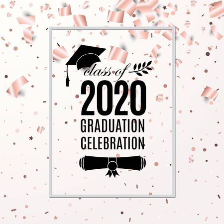 Graduation celebration 2020 class of banner with hat, paper roll, laurel on blush rose backdrop with flying foil papers and confetti for invitation, banner, poster, postcard. Vector template