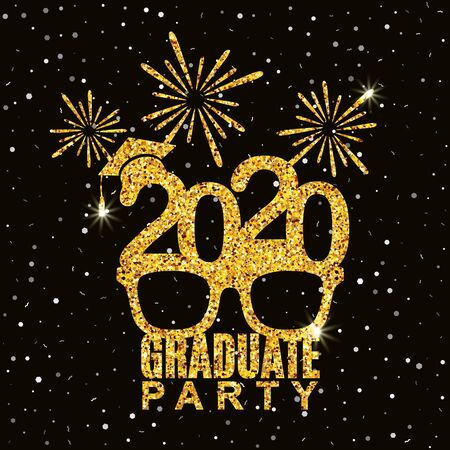 Graduate party 2020 class of greeting card with glasses, hat and fireworks for invitation, banner, poster, postcard. Vector illustration. All isolated and layered Иллюстрация