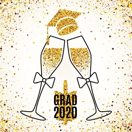Grad 2020 greeting card with two glasses of champagne, hat, bell, scattered golden confetti for invitation, web banner, poster, postcard. Vector illustration template. All isolated and layered