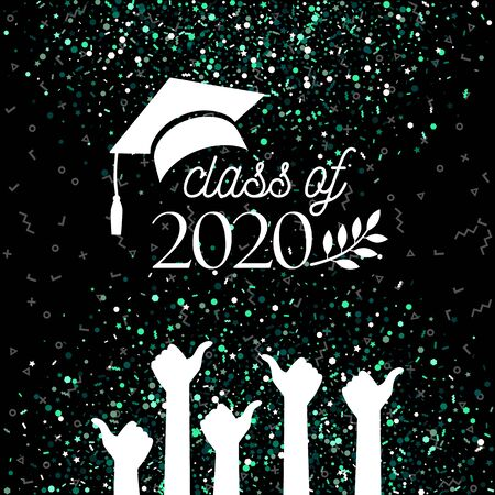 Class of 2020 graduate banner with hat, laurel, hands with thumbs up sign as like on confetti background for invitation, greeting card, poster, postcard. Vector graduation template