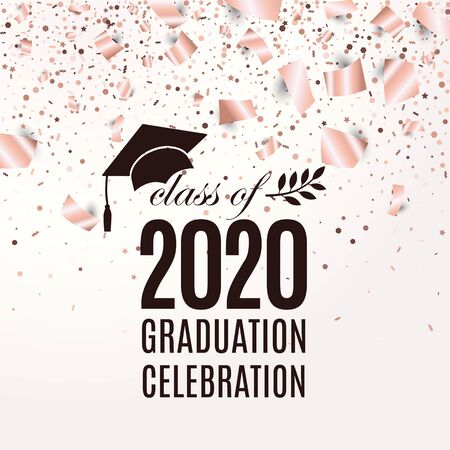 Class of 2020 graduation greeting card with hat, laurel on blush rose backdrop with flying foil papers and confetti for invitation, banner, poster, postcard. Vector template. All isolated and layered
