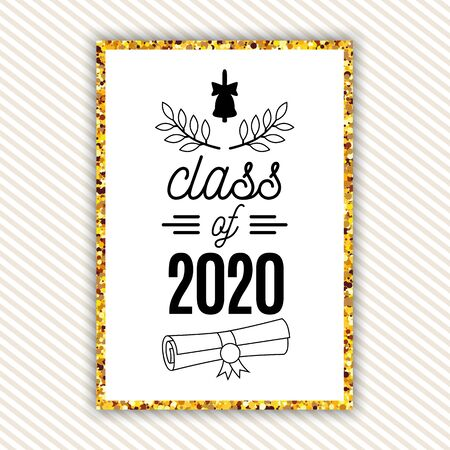 Class of 2020 graduation greeting card with bell, scroll, laurels on striped background with gold frame for invitation, banner, poster, postcard. Vector graduate template. All isolated and layered Иллюстрация
