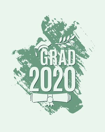 Grad 2020 greeting card with hat, laurel, ink brush stroke on mint background for invitation, banner, poster, postcard. Vector graduation template. All isolated and layered