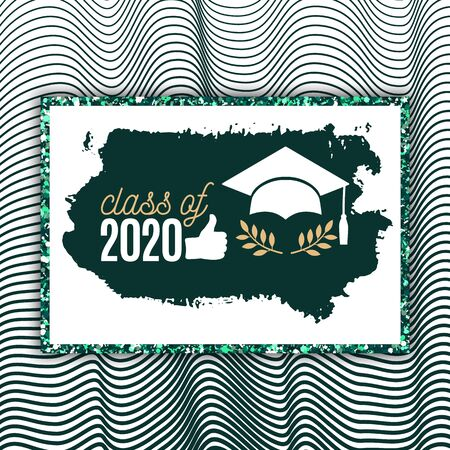 Class of 2020 graduate greeting card with hat, thumb up hand, laurel, brush stroke on waves background for invitation, banner, poster, postcard. Vector graduation template. All isolated and layered