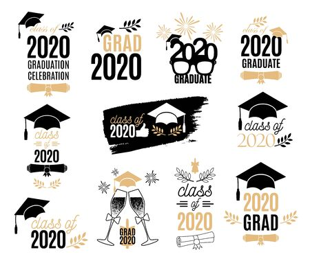 Graduation class of 2020 labels design set. Badges kit for shirt, print, seal, overlay, stamp, greeting card, invitation. Vector sign or logo. All isolated and layered