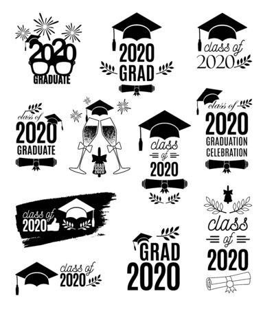 Graduate 2020 labels design set. Concept for shirt, print, seal, overlay, stamp, greeting card, invitation. Vector sign or logo. All isolated and layered